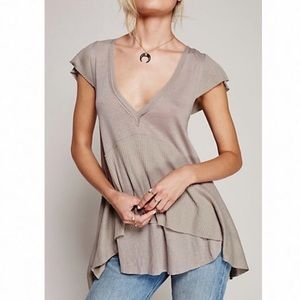 Free People / Mary Anne Tiered Brown Tunic Tee M